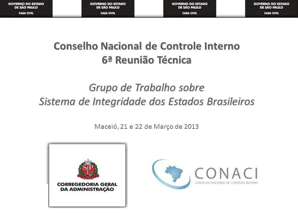Conselho Nacional de Controle Interno 6ª Reunião Técnica Grupo de Trabalho sobre Sistema de Integridade dos Estados Brasileiros Maceió, 21 e 22 de Março de 2013