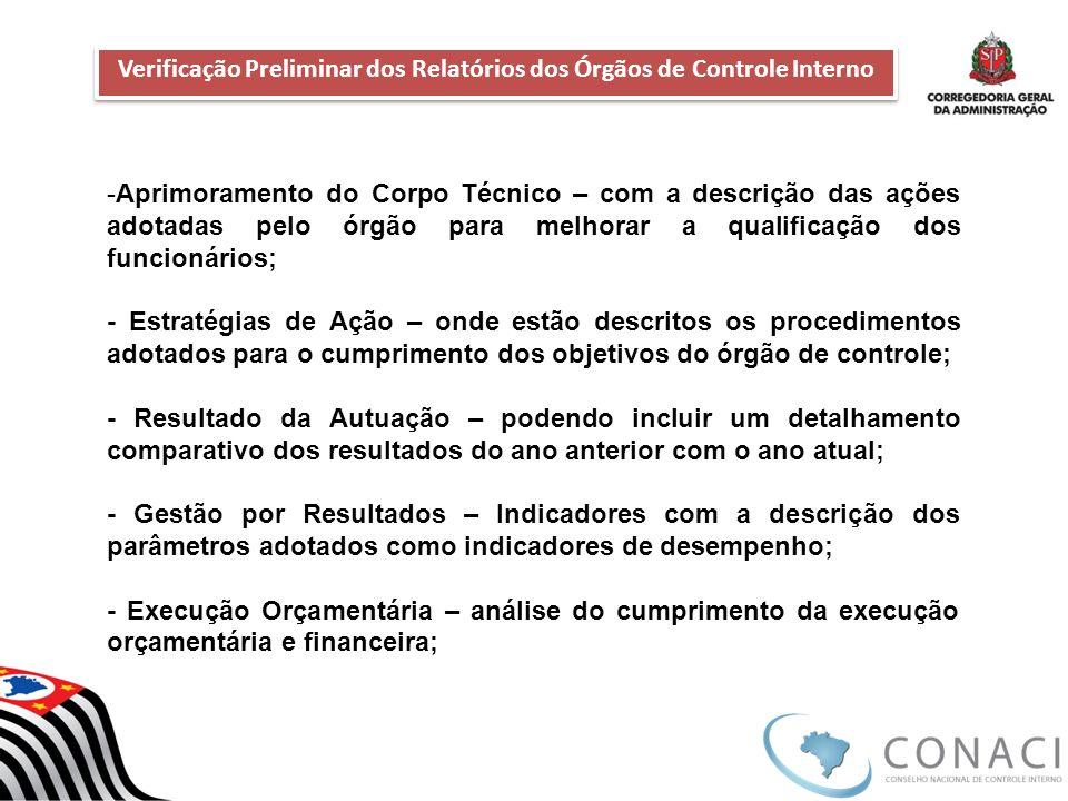 Verificação Preliminar dos Relatórios dos Órgãos de Controle Interno Verificação Preliminar dos Relatórios dos Órgãos de Controle Interno -Aprimoramen