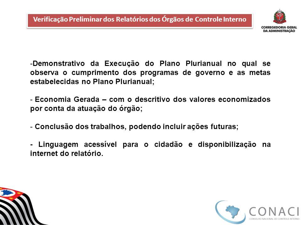 Verificação Preliminar dos Relatórios dos Órgãos de Controle Interno Verificação Preliminar dos Relatórios dos Órgãos de Controle Interno -Demonstrati