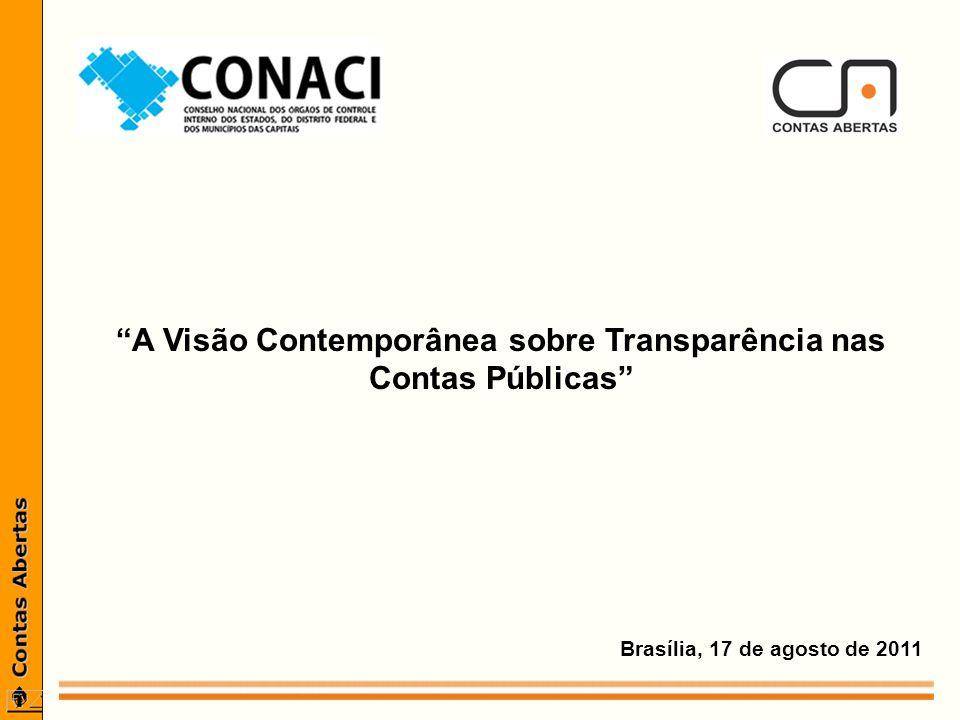 Brasília, 17 de agosto de 2011 A Visão Contemporânea sobre Transparência nas Contas Públicas