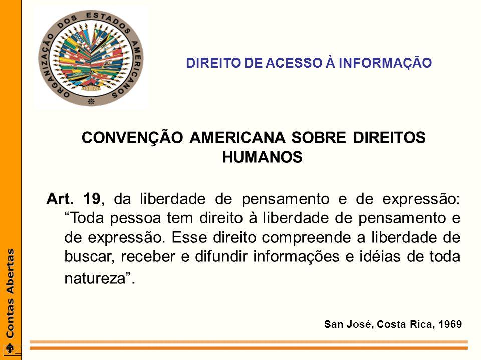 DIREITO DE ACESSO À INFORMAÇÃO CONVENÇÃO AMERICANA SOBRE DIREITOS HUMANOS Art.