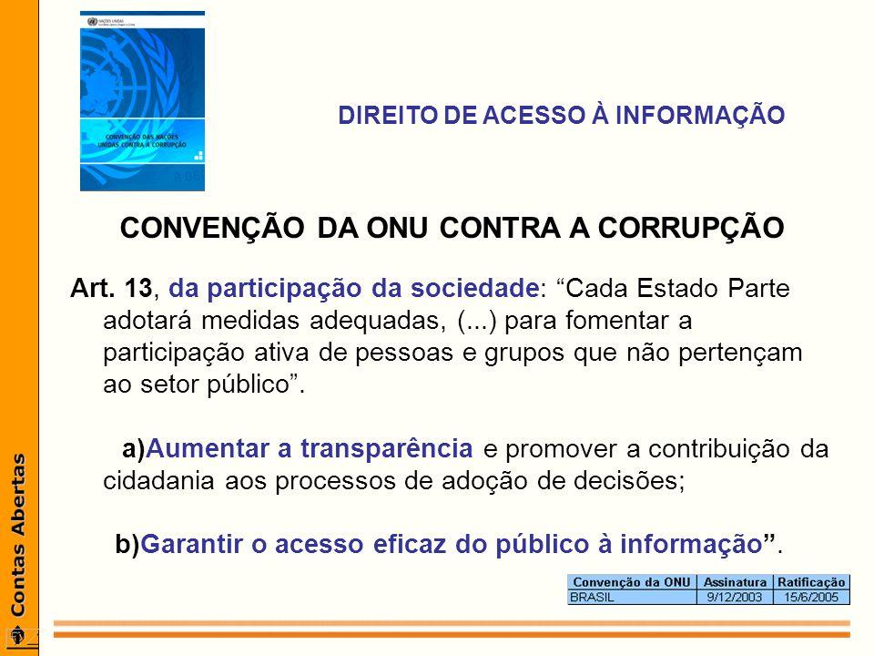 CONVENÇÃO DA ONU CONTRA A CORRUPÇÃO Art.