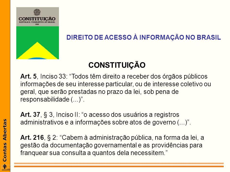 DIREITO DE ACESSO À INFORMAÇÃO NO BRASIL CONSTITUIÇÃO Art.