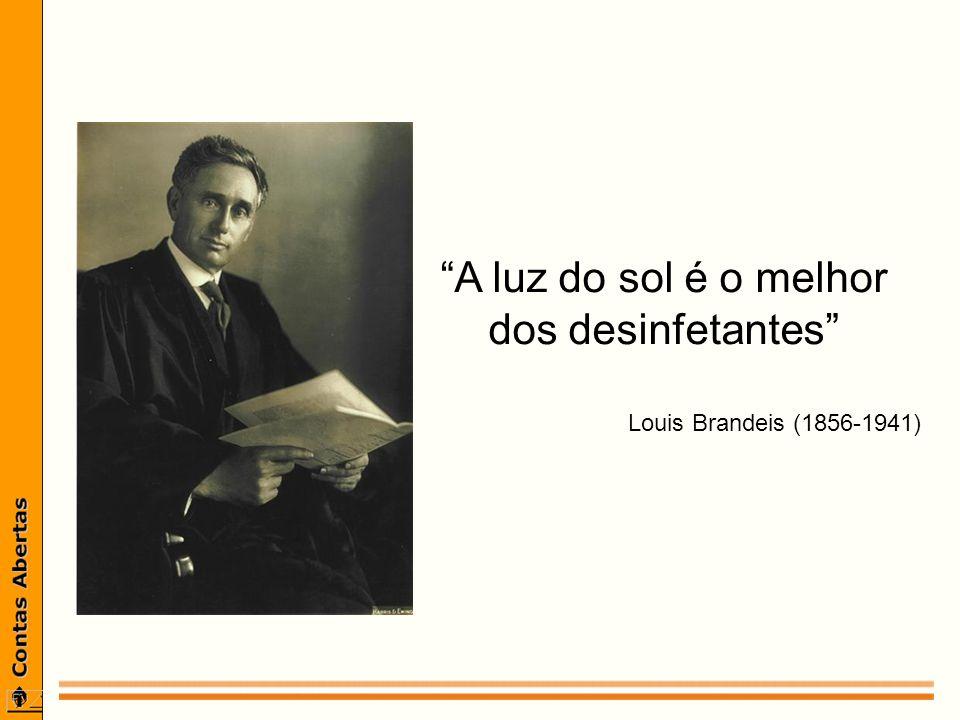 A luz do sol é o melhor dos desinfetantes Louis Brandeis (1856-1941)