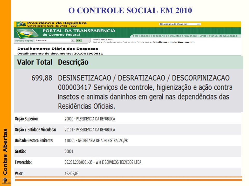 O CONTROLE SOCIAL EM 2010