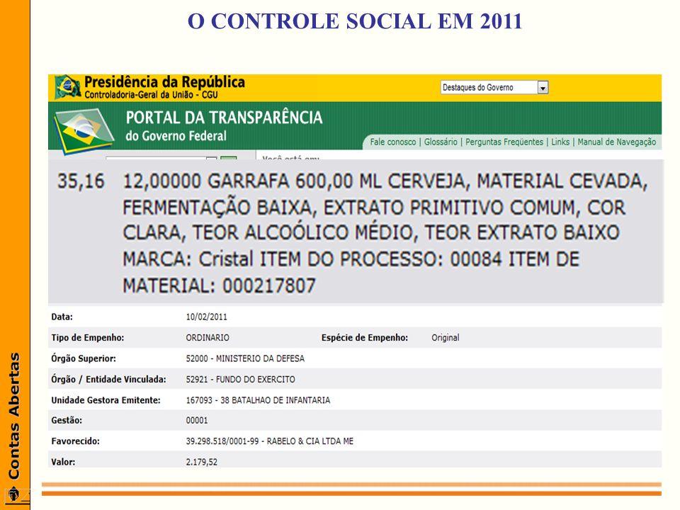 O CONTROLE SOCIAL EM 2011