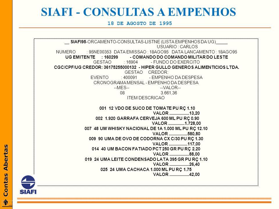 _________________________________________________ SIAFI - CONSULTAS A EMPENHOS 18 DE AGOSTO DE 1995 __ SIAFI95-ORCAMENTO-CONSULTAS-LISTNE (LISTA EMPENHOS DA UG)_____ USUARIO : CARLOS NUMERO : 95NE00353 DATA EMISSAO : 18AGO95 DATA LANCAMENTO : 18AGO95 UG EMITENTE : 160299 - COMANDO DO COMANDO MILITAR DO LESTE GESTAO : 16904 - FUNDO DO EXERCITO CGC/CPF/UG CREDOR: 36175255000132 - HIPER GULLO GENEROS ALIMENTICIOS LTDA.