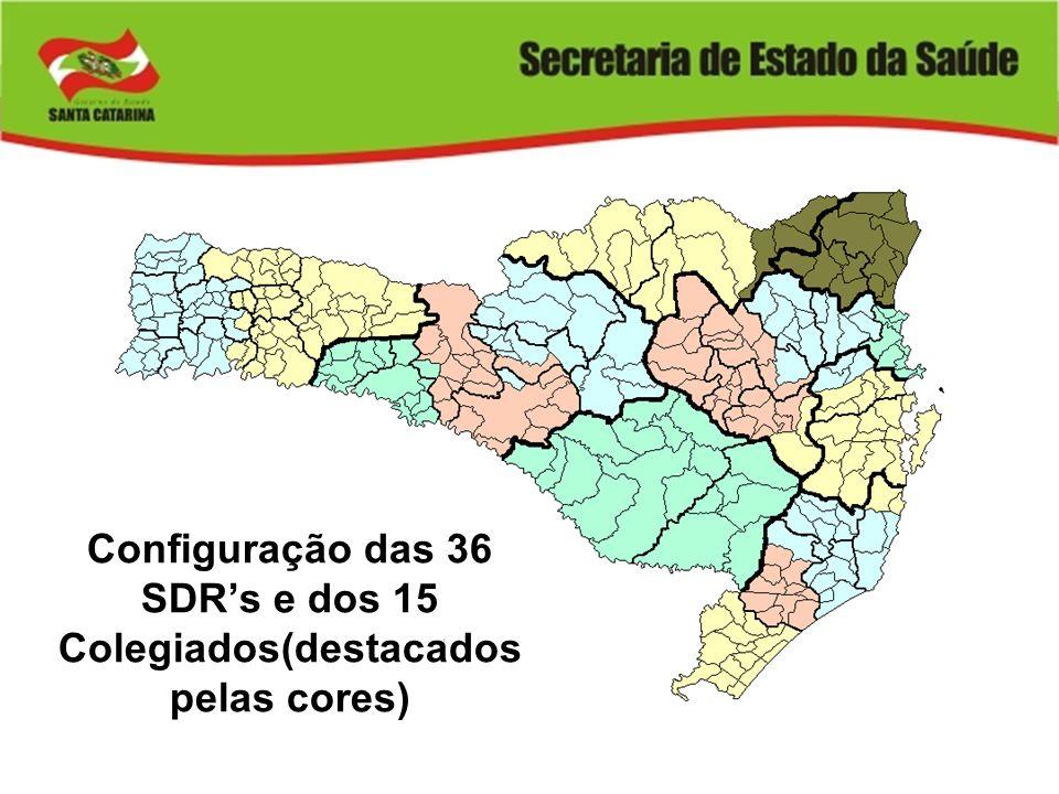 Configuração das 36 SDRs e dos 15 Colegiados(destacados pelas cores)