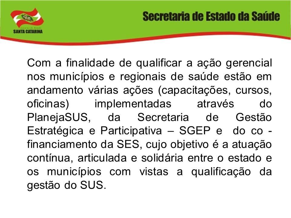 Com a finalidade de qualificar a ação gerencial nos municípios e regionais de saúde estão em andamento várias ações (capacitações, cursos, oficinas) i