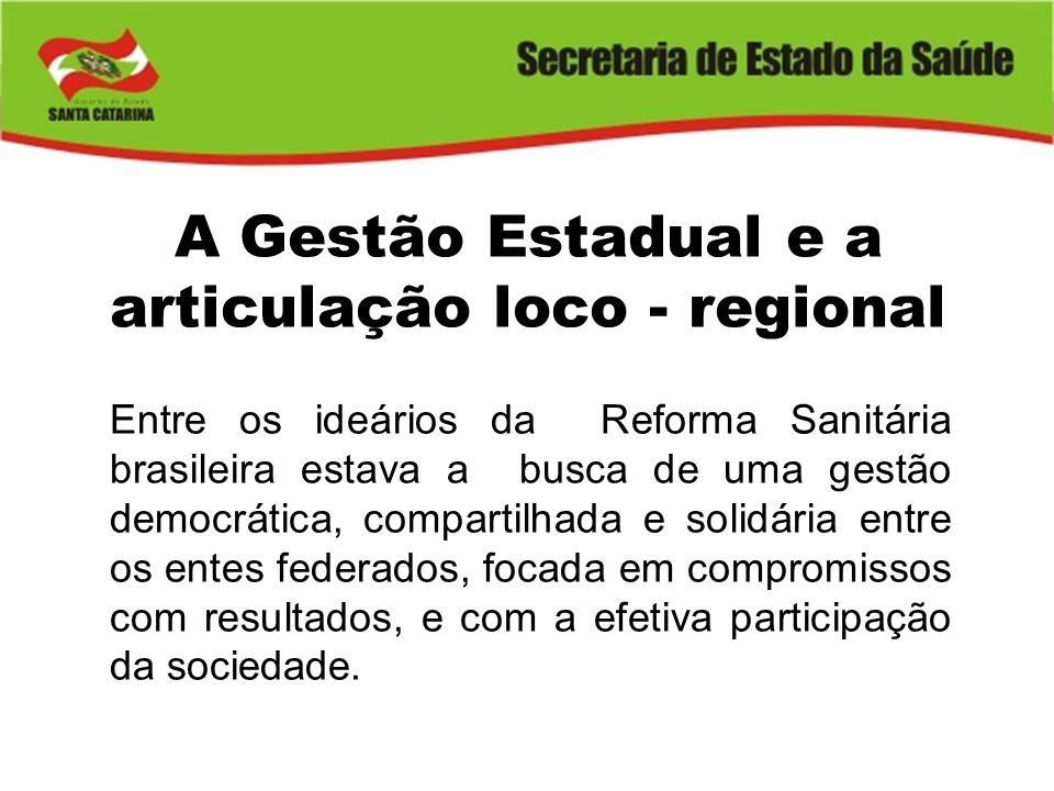 A Gestão Estadual e a articulação loco - regional Entre os ideários da Reforma Sanitária brasileira estava a busca de uma gestão democrática, comparti