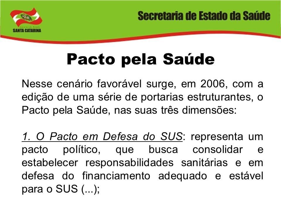 Pacto pela Saúde Nesse cenário favorável surge, em 2006, com a edição de uma série de portarias estruturantes, o Pacto pela Saúde, nas suas três dimen