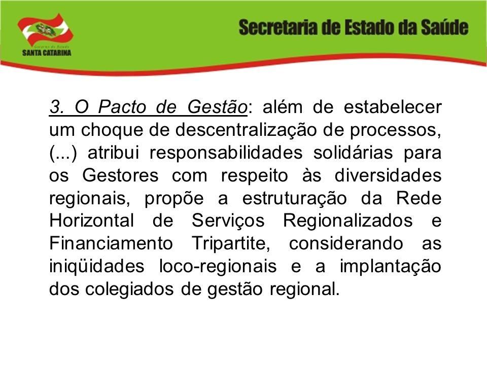 3. O Pacto de Gestão: além de estabelecer um choque de descentralização de processos, (...) atribui responsabilidades solidárias para os Gestores com