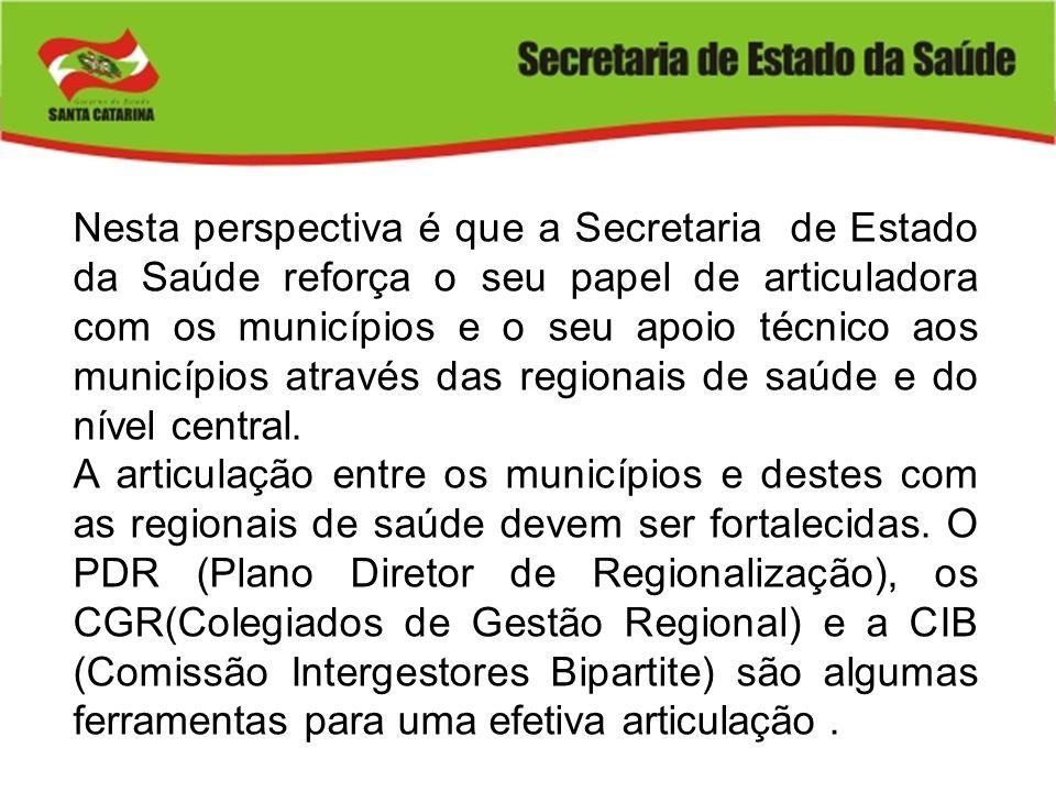 Nesta perspectiva é que a Secretaria de Estado da Saúde reforça o seu papel de articuladora com os municípios e o seu apoio técnico aos municípios atr