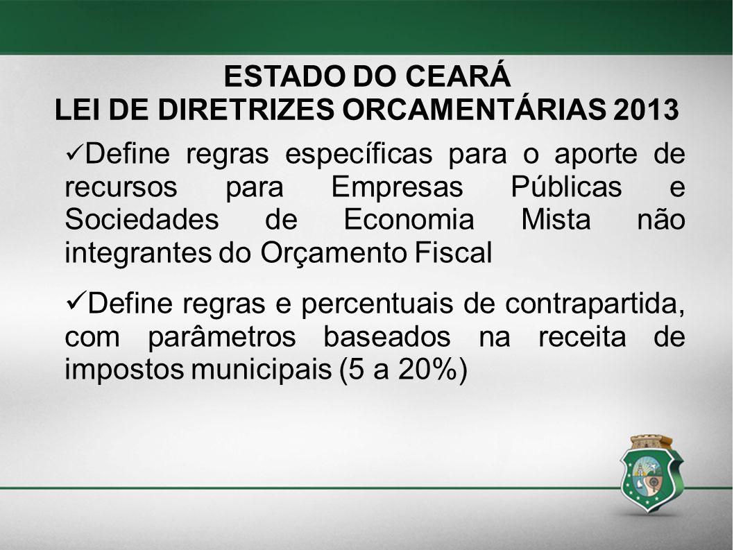 ESTADO DO CEARÁ LEI DE DIRETRIZES ORCAMENTÁRIAS 2013 Define regras específicas para o aporte de recursos para Empresas Públicas e Sociedades de Econom