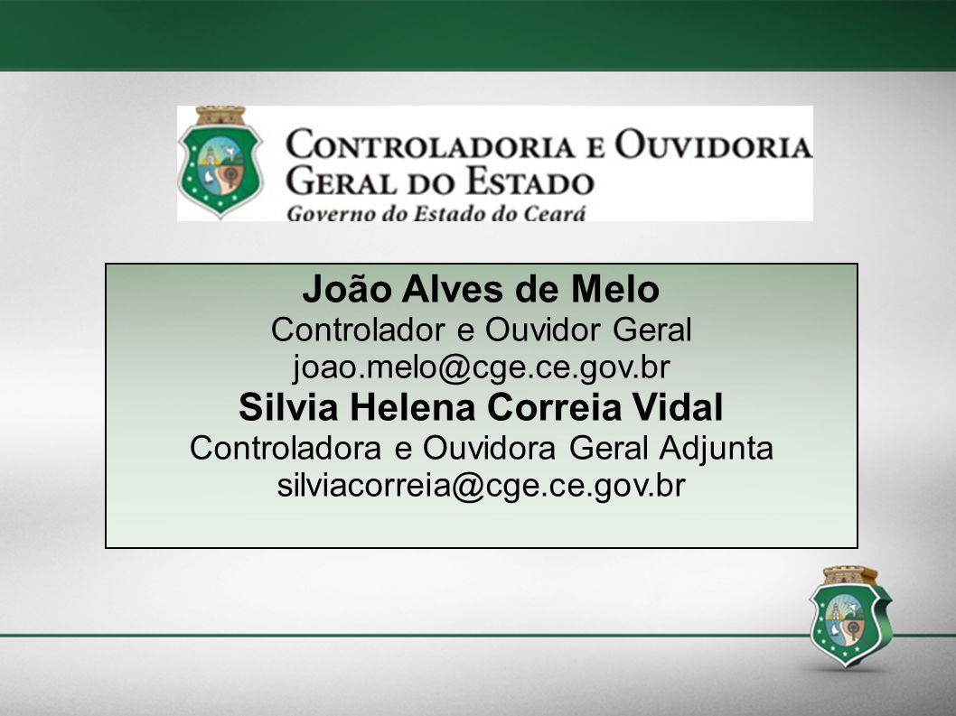 1/114 João Alves de Melo Controlador e Ouvidor Geral joao.melo@cge.ce.gov.br Silvia Helena Correia Vidal Controladora e Ouvidora Geral Adjunta silviac