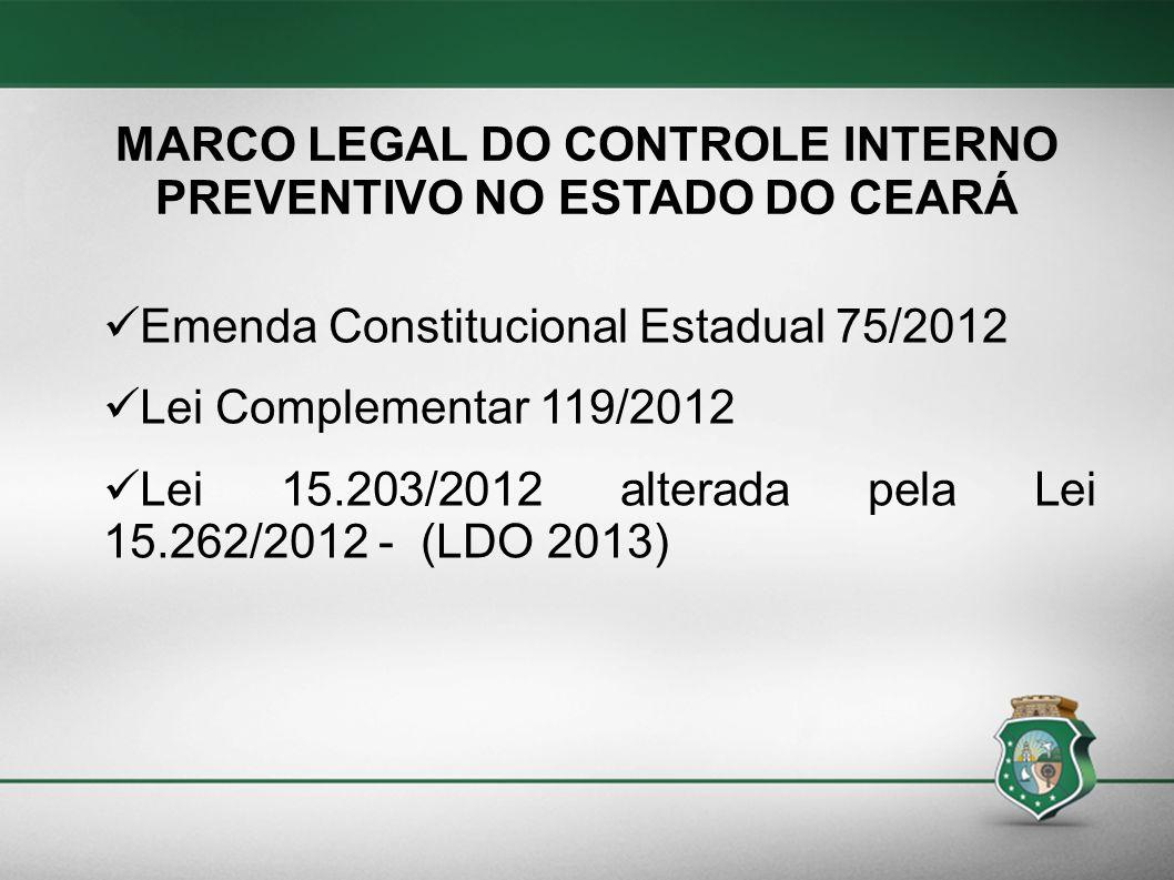 MARCO LEGAL DO CONTROLE INTERNO PREVENTIVO NO ESTADO DO CEARÁ Emenda Constitucional Estadual 75/2012 Lei Complementar 119/2012 Lei 15.203/2012 alterad