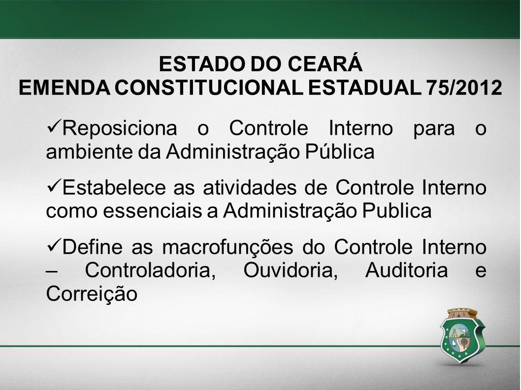 ESTADO DO CEARÁ EMENDA CONSTITUCIONAL ESTADUAL 75/2012 Reposiciona o Controle Interno para o ambiente da Administração Pública Estabelece as atividade