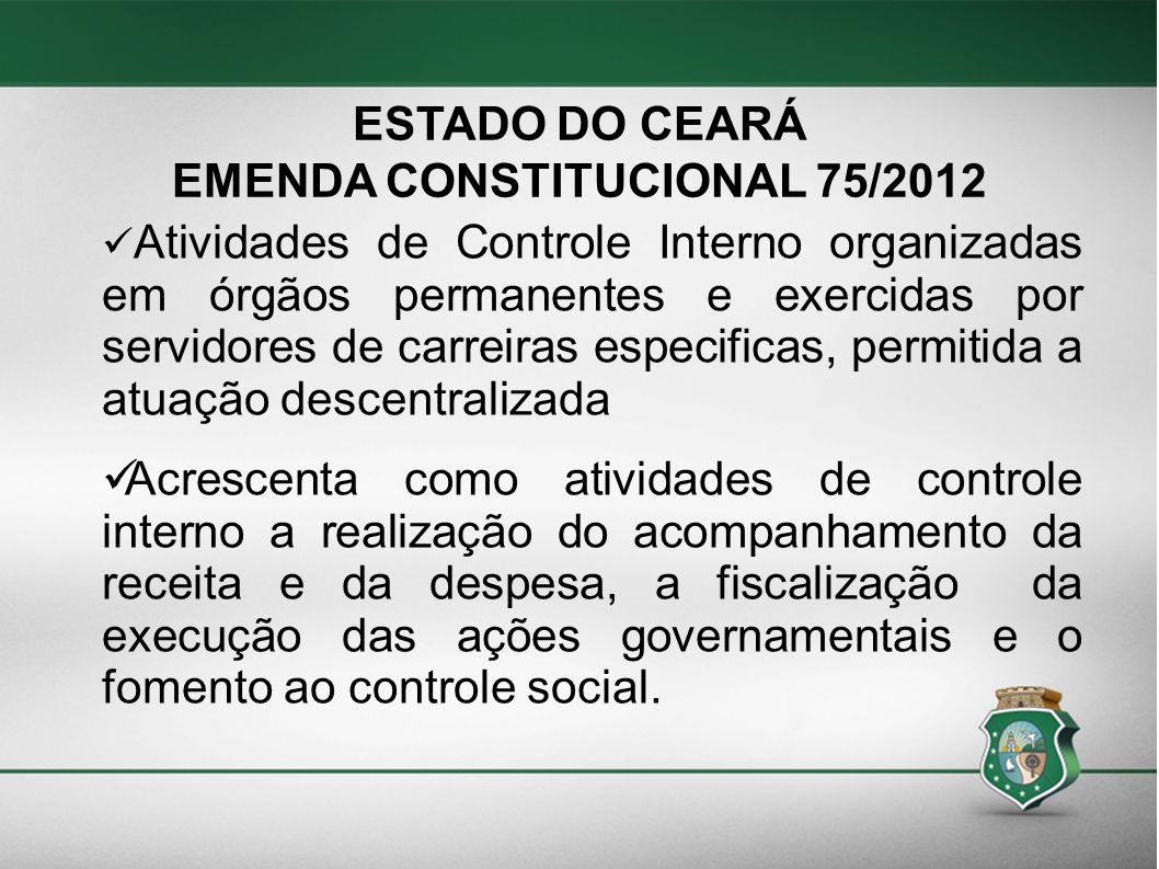 ESTADO DO CEARÁ EMENDA CONSTITUCIONAL 75/2012 Atividades de Controle Interno organizadas em órgãos permanentes e exercidas por servidores de carreiras
