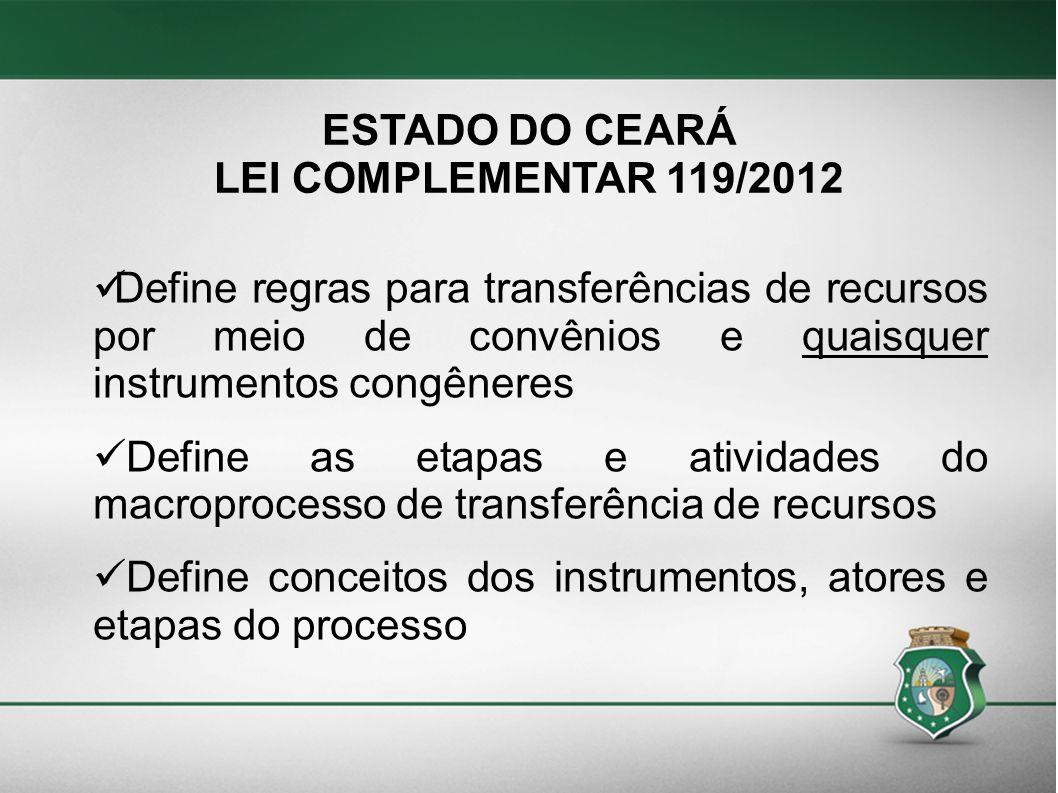 ESTADO DO CEARÁ LEI COMPLEMENTAR 119/2012 Define regras para transferências de recursos por meio de convênios e quaisquer instrumentos congêneres Defi