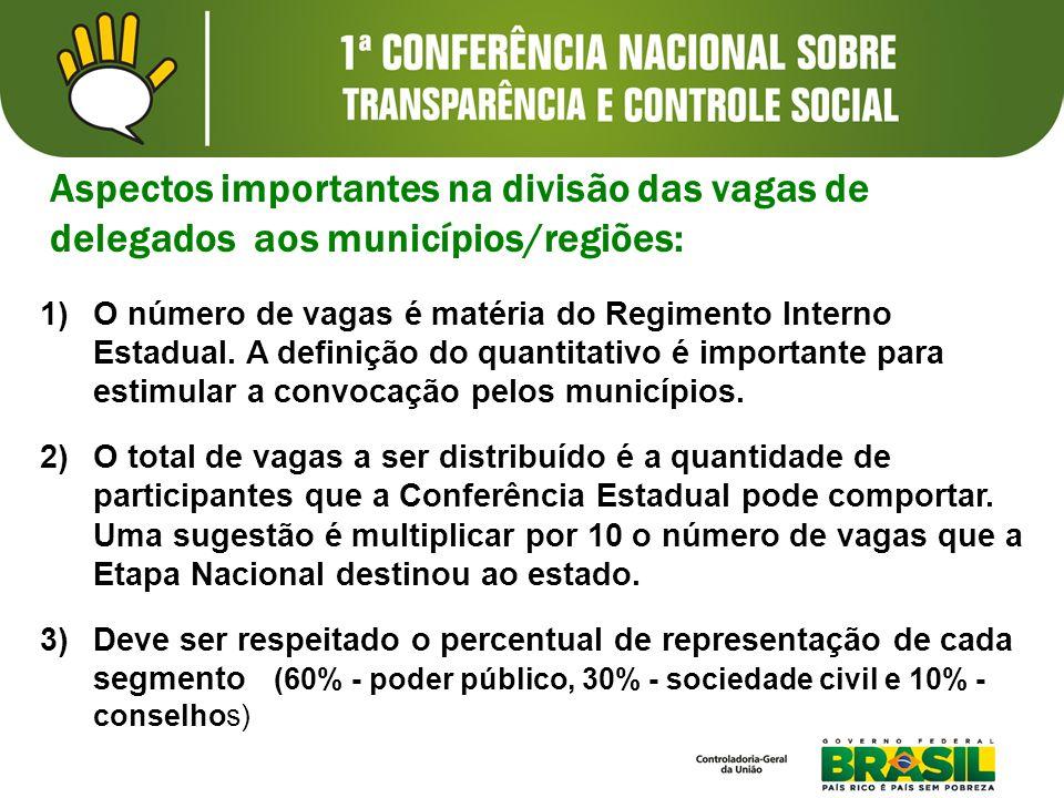 Aspectos importantes na divisão das vagas de delegados aos municípios/regiões: 1)O número de vagas é matéria do Regimento Interno Estadual. A definiçã