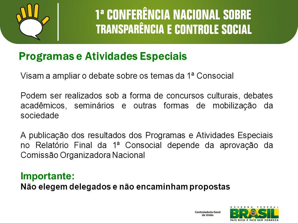 Visam a ampliar o debate sobre os temas da 1ª Consocial Podem ser realizados sob a forma de concursos culturais, debates acadêmicos, seminários e outr