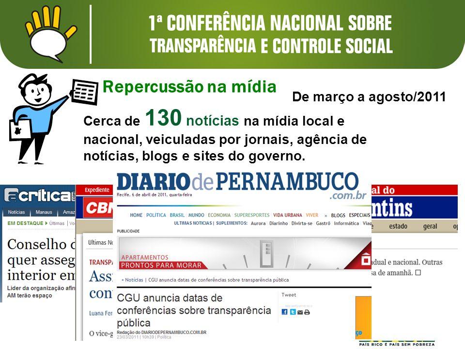 Repercussão na mídia Cerca de 130 notícias na mídia local e nacional, veiculadas por jornais, agência de notícias, blogs e sites do governo. De março