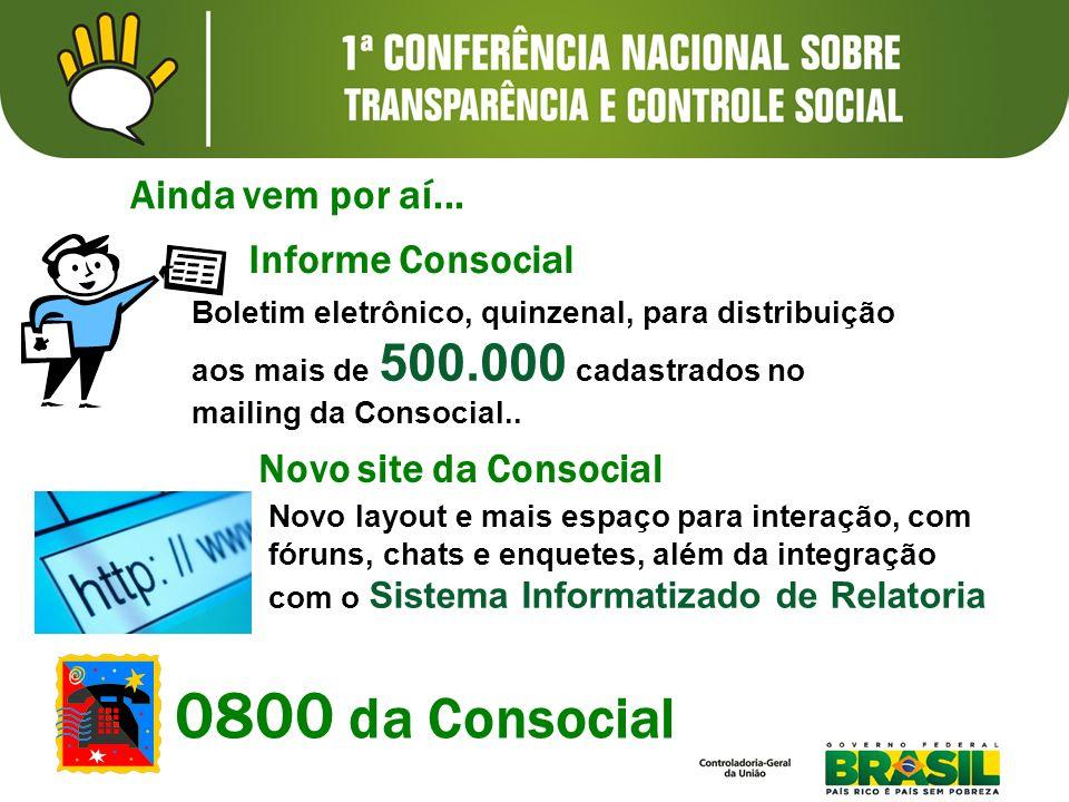 Ainda vem por aí... Informe Consocial Boletim eletrônico, quinzenal, para distribuição aos mais de 500.000 cadastrados no mailing da Consocial.. Novo