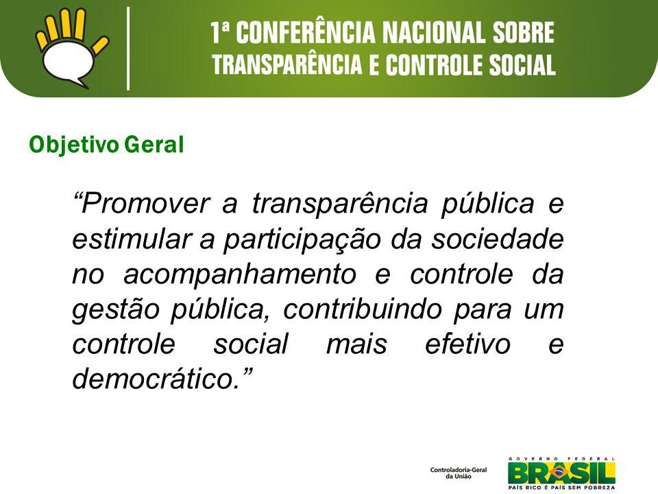 Objetivo Geral Promover a transparência pública e estimular a participação da sociedade no acompanhamento e controle da gestão pública, contribuindo p
