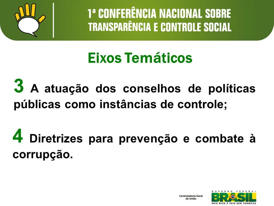 3 A atuação dos conselhos de políticas públicas como instâncias de controle; Eixos Temáticos 4 Diretrizes para prevenção e combate à corrupção.