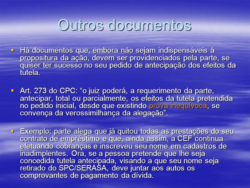 Outros documentos Há documentos que, embora não sejam indispensáveis à propositura da ação, devem ser providenciados pela parte, se quiser ter sucesso