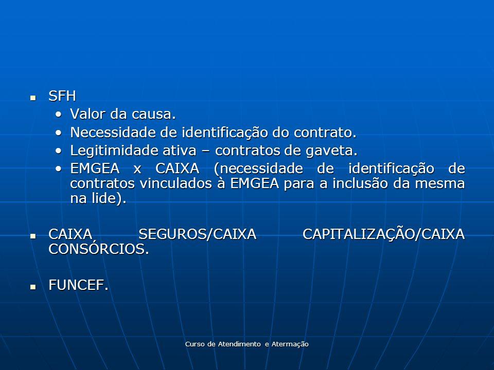 Curso de Atendimento e Atermação SFH SFH Valor da causa.Valor da causa. Necessidade de identificação do contrato.Necessidade de identificação do contr