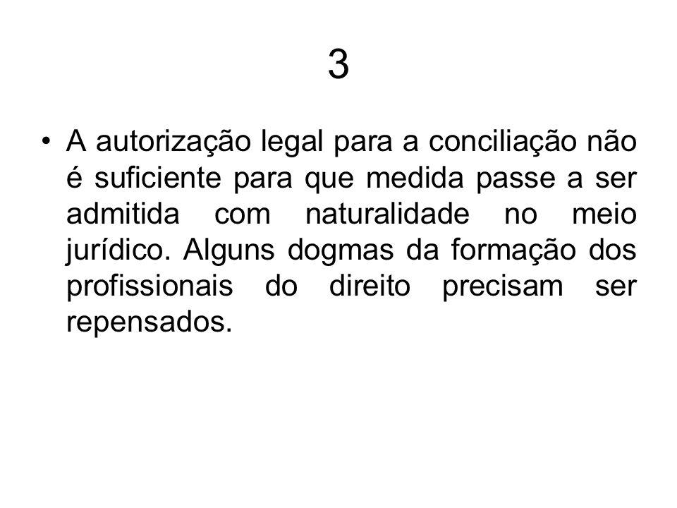 3 A autorização legal para a conciliação não é suficiente para que medida passe a ser admitida com naturalidade no meio jurídico. Alguns dogmas da for