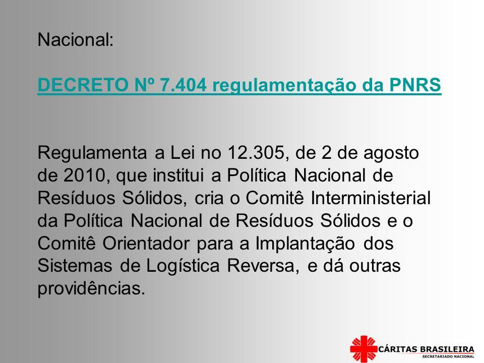 Nacional: DECRETO Nº 7.404 regulamentação da PNRS Regulamenta a Lei no 12.305, de 2 de agosto de 2010, que institui a Política Nacional de Resíduos Só