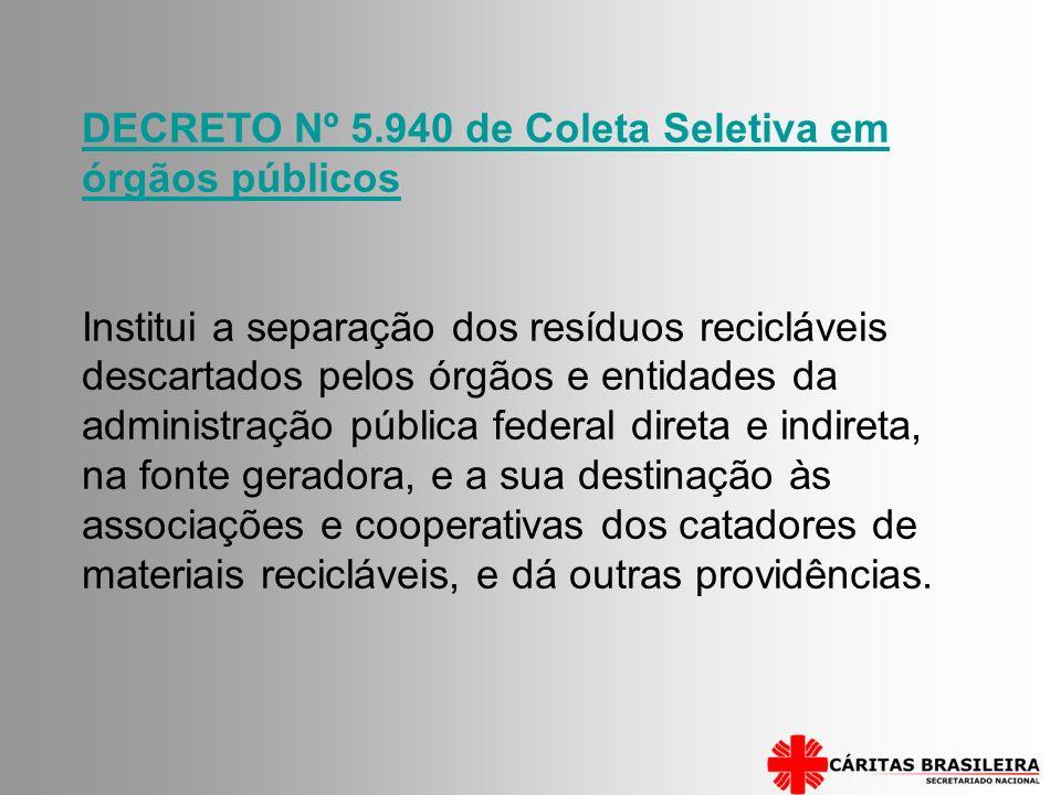 DECRETO Nº 5.940 de Coleta Seletiva em órgãos públicos Institui a separação dos resíduos recicláveis descartados pelos órgãos e entidades da administr
