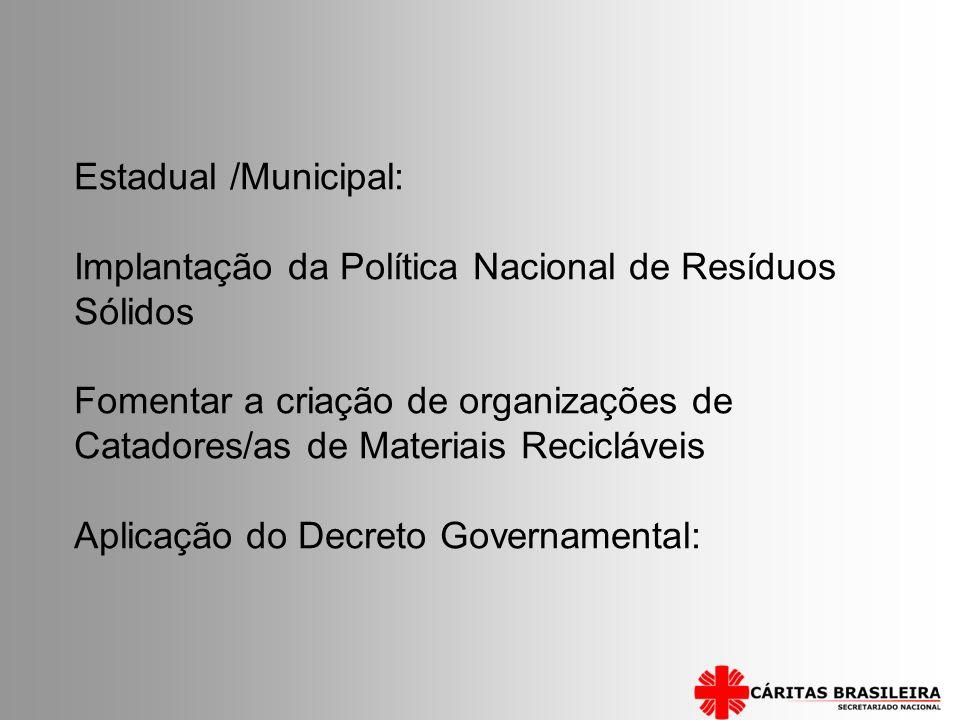 Estadual /Municipal: Implantação da Política Nacional de Resíduos Sólidos Fomentar a criação de organizações de Catadores/as de Materiais Recicláveis