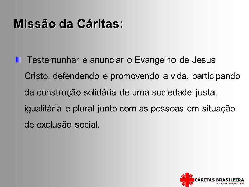 Missão da Cáritas: Testemunhar e anunciar o Evangelho de Jesus Cristo, defendendo e promovendo a vida, participando da construção solidária de uma soc