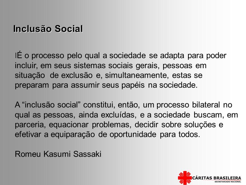 I É o processo pelo qual a sociedade se adapta para poder incluir, em seus sistemas sociais gerais, pessoas em situação de exclusão e, simultaneamente