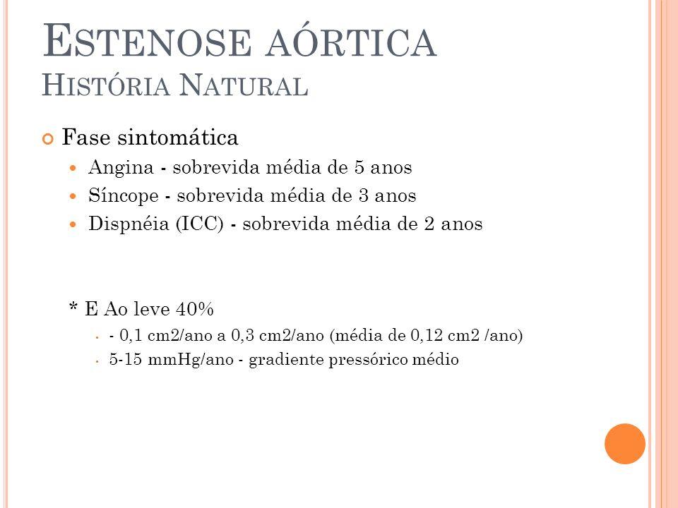 E STENOSE AÓRTICA H ISTÓRIA N ATURAL Fase sintomática Angina - sobrevida média de 5 anos Síncope - sobrevida média de 3 anos Dispnéia (ICC) - sobrevida média de 2 anos * E Ao leve 40% - 0,1 cm2/ano a 0,3 cm2/ano (média de 0,12 cm2 /ano) 5-15 mmHg/ano - gradiente pressórico médio
