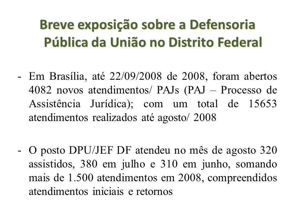Breve exposição sobre a Defensoria Pública da União no Distrito Federal -Em Brasília, até 22/09/2008 de 2008, foram abertos 4082 novos atendimentos/ P