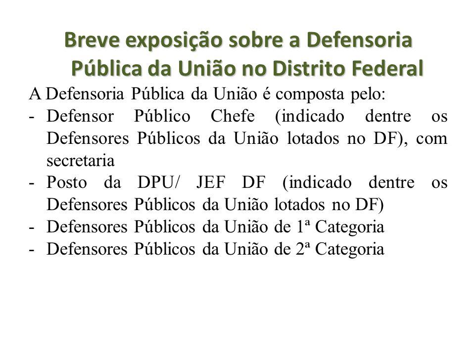 Breve exposição sobre a Defensoria Pública da União no Distrito Federal A Defensoria Pública da União é composta pelo: -Defensor Público Chefe (indica