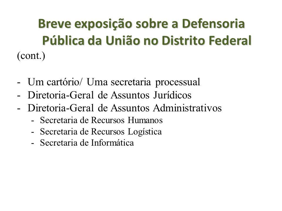 Breve exposição sobre a Defensoria Pública da União no Distrito Federal (cont.) -Um cartório/ Uma secretaria processual -Diretoria-Geral de Assuntos J