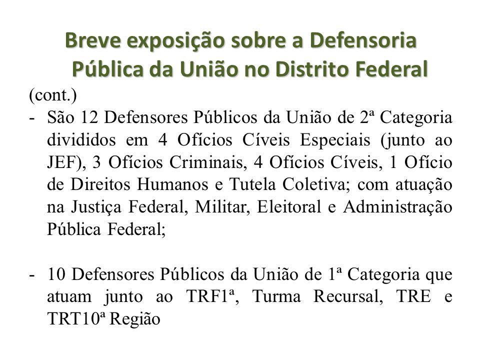 Breve exposição sobre a Defensoria Pública da União no Distrito Federal (cont.) -São 12 Defensores Públicos da União de 2ª Categoria divididos em 4 Of