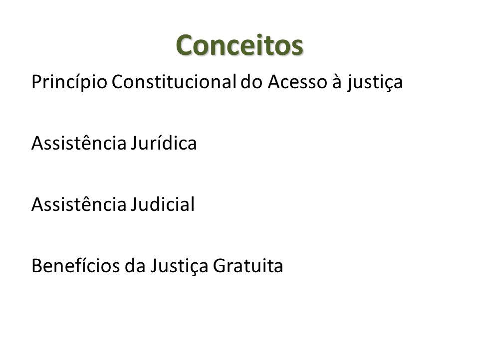 Conceitos Princípio Constitucional do Acesso à justiça Assistência Jurídica Assistência Judicial Benefícios da Justiça Gratuita
