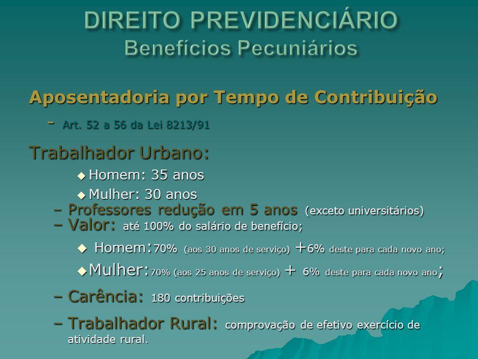 Aposentadoria por Tempo de Contribuição - Art. 52 a 56 da Lei 8213/91 Trabalhador Urbano: Homem: 35 anos Homem: 35 anos Mulher: 30 anos Mulher: 30 ano