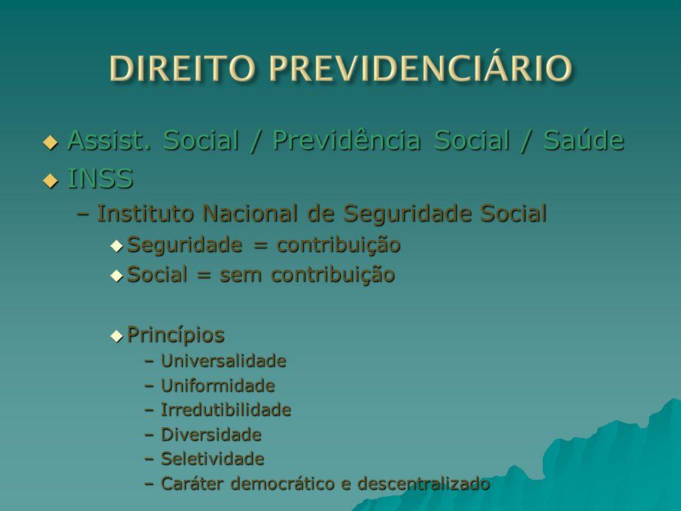 Assist. Social / Previdência Social / Saúde Assist. Social / Previdência Social / Saúde INSS INSS –Instituto Nacional de Seguridade Social Seguridade