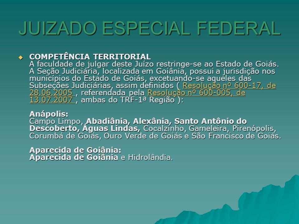JUIZADO ESPECIAL FEDERAL COMPETÊNCIA TERRITORIAL A faculdade de julgar deste Juízo restringe-se ao Estado de Goiás. A Seção Judiciária, localizada em