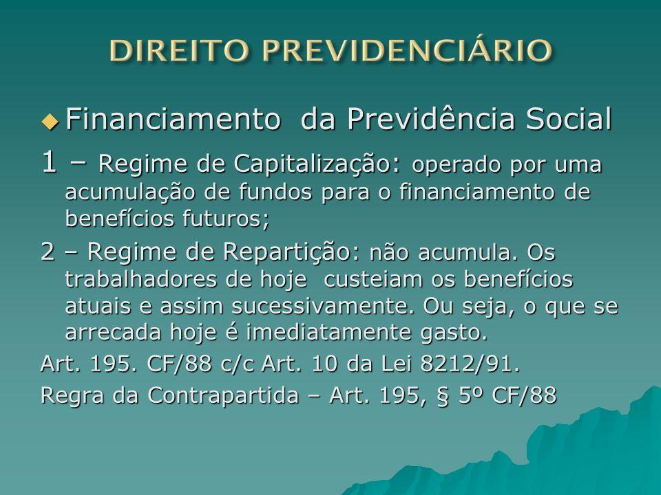 Financiamento da Previdência Social Financiamento da Previdência Social 1 – Regime de Capitalização : operado por uma acumulação de fundos para o fina