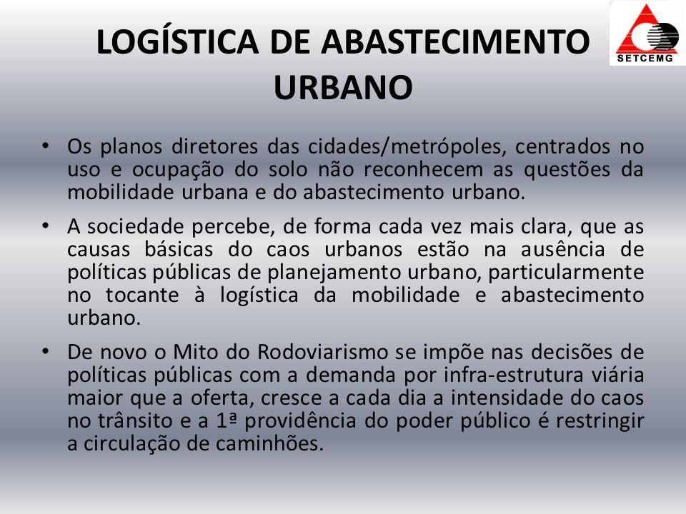 LOGÍSTICA DE ABASTECIMENTO URBANO Os planos diretores das cidades/metrópoles, centrados no uso e ocupação do solo não reconhecem as questões da mobilidade urbana e do abastecimento urbano.