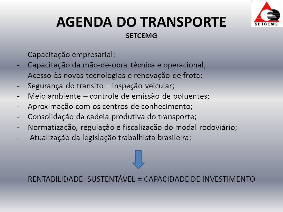 AGENDA DO TRANSPORTE SETCEMG -Capacitação empresarial; -Capacitação da mão-de-obra técnica e operacional; -Acesso às novas tecnologias e renovação de frota; -Segurança do transito – inspeção veicular; -Meio ambiente – controle de emissão de poluentes; -Aproximação com os centros de conhecimento; -Consolidação da cadeia produtiva do transporte; -Normatização, regulação e fiscalização do modal rodoviário; - Atualização da legislação trabalhista brasileira; RENTABILIDADE SUSTENTÁVEL = CAPACIDADE DE INVESTIMENTO