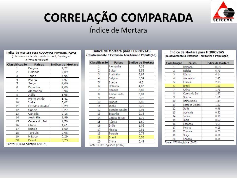 RELAÇÃO ENTRE AS INFRA- ESTRUTURAS DAS 3 MODALIDADES (comparativo entre as extensões das respectivas redes em cada país)